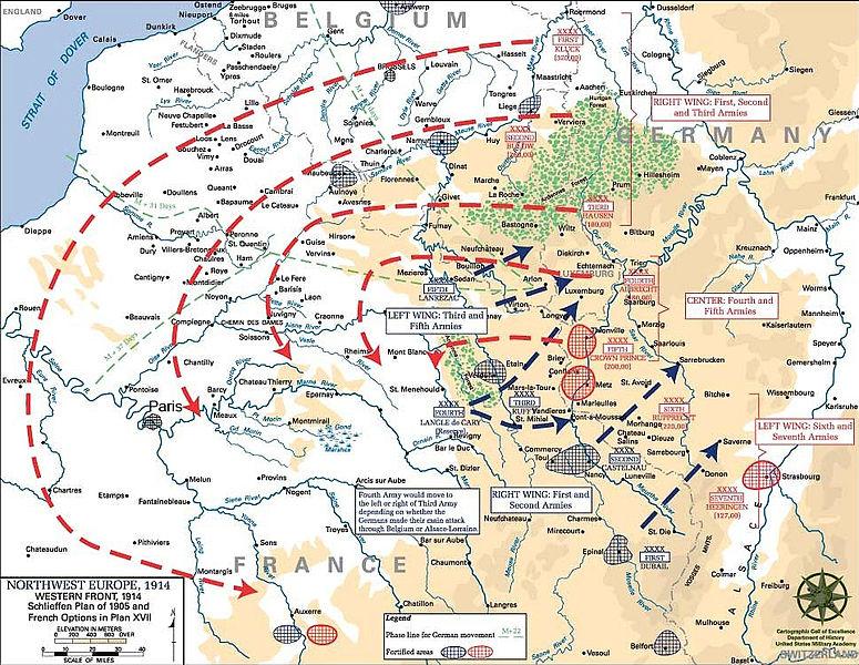 De weg het doel in het von Schlieffenplan